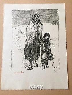 Téophile Alexandre Steinlen La marche dans la neige lithographie originale