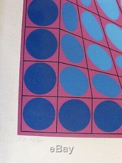 Vasarely Victor Lithographie TRI-VEGA1970 Signé. 17/40 ex. H107 cm