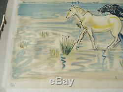 Yves BRAYER Chevaux en Camargue Lithographie originale signée et numérotée