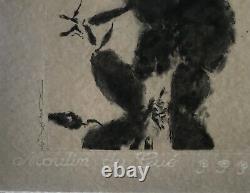 Zao Wou ki Gravure originale à l'eau-forte & aquatinte Sg & N°- Moestrup 369